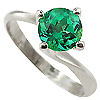 18K White Gold 1.00ct Emerald Ring