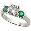 18K White Gold 1.00cttw Diamond & Emerald Ring