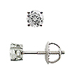 14K White Gold Basket Style 1/5cttw Diamond Stud  Earrings,  G-H / SI
