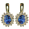 14K Yellow Gold 2.32cttw Sapphire & Diamond Earrings