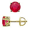 18K Yellow Gold 1.50cttw Ruby Earrings