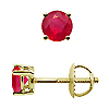 14K Yellow Gold 1/2 cttw Ruby Earrings