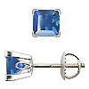 18K White Gold Scrollwork 1.00cttw Blue Sapphire Earrings