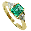 18K Yellow Gold 1.15cttw Emerald & Diamond Ring