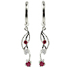 14K White Gold 0.60cttw Diamond & Ruby Earrings