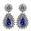 18K White Gold 4.00cttw Sapphire & Diamond Earrings