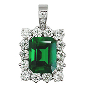 18K White Gold 3.00cttw Emerald & Diamond Pendant