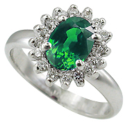14K White Gold 1.16cttw Emerald & Diamond Ring