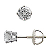 14K White Gold Basket Style 0.40 cttw Diamond Stud Earrings, G-H / SI