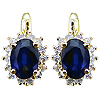 14K Yellow Gold 1.94cttw Sapphire & Diamond Earrings