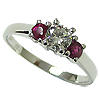 18K White Gold 1.00cttw Diamond & Ruby Ring