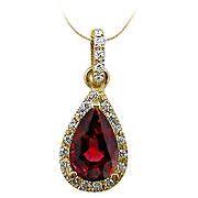 18K Yellow Gold 1.25cttw Ruby & Diamond Pendant