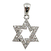 18K White Gold 0.25cttw Star of David Diamond Pendant