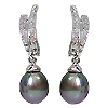 14K White Gold Tahitian Pearl & Diamond Earrings